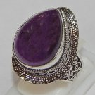 Ethnic Style Natural Amethyst Gemstone 925 Sterling Silver Overlay Ring Size 9