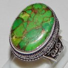 Vintage Green Copper Turquoise Gemstone 925 Sterling Silver Overlay Ring Sz 9.25