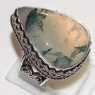 Natural Russion Dendritic Opal Gemstone 925 Sterling Silver Overlay Ring Size 10