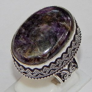 Rare Natural Sugilite Gemstone 925 Sterling Silver Overlay Men's Ring Size 9