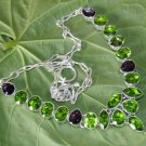 Peridot Amethyst Gemstone Necklace- Fashion 925 Silver Adjustable Size 18.5""