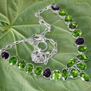 "Peridot Amethyst Gemstone Necklace- Fashion 925 Silver Adjustable Size 18.5"""