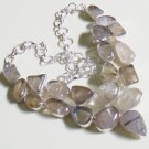 Rutile Quartz Gemstone Necklace- 925 Silver Choker Fancy Necklace Size 18.5""