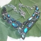 Natural Blue Flashing Labradorite 925 Silver Fashion Adjustable Necklace Size 18