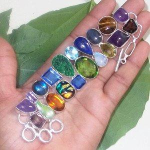 "Labradorite Tiger Eye Amethyst Dichroic Glass Gemstone Adjustable Bracelet  7.5"""