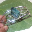 Blue Flashing Pear Labradorite 925 Silver Handmade Gemstone Bangle Size 8""
