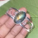 Blue Yellow Flashing Oval Labradorite 925 Silver Handmade Bangle Size 7.5""