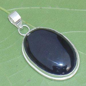 Oval Black Onyx Gemstone Pendant- 925 Silver Handmade Pendant Jewelry