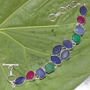 "Kashmiri Emerald Ruby Blue Sapphire Fantasy 925 Silver Size 6.5"" Bracelet"