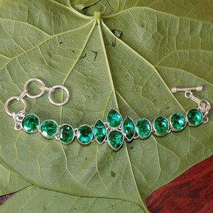 """Russian Diaopside Quartz Bracelet- 925 Silver Bracelet Adjustable Size 6.5"""""""