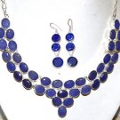 GORGEOUS KASHMIR BLUE SAPPHIRE 925 STERLING SILVER OVERLAY NECKLACE EARRINGS 18""