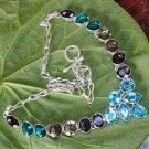 """Amethyst Blue Topaz Smoky Quartz Diopside Quartz Gems 925 Silver Necklace 18.5"""""""