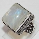 Father's Day Gift Misty Rainbow Moonstone 925 Sterling Silver Overlay Ring 10.5