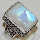 Natural Cushion Rainbow Moonstone Gem 925 Sterling Silver Overlay Ring Size 9.5