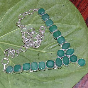 "Sakota Mines Kashmir Green Emerald 925 Silver Gemstone Choker Necklace 18.5"""