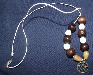 Pentacle Necklace with Wooden Bead Accent