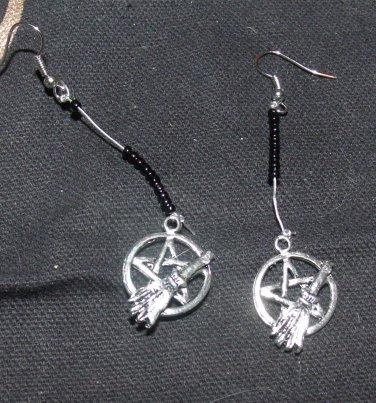 Pentacle and Broom Earrings