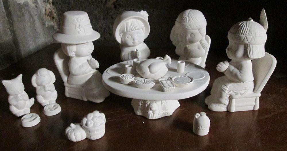 Ceramic bisque u paint dona sweet tot thanksgiving set for Bisque ceramic craft stores