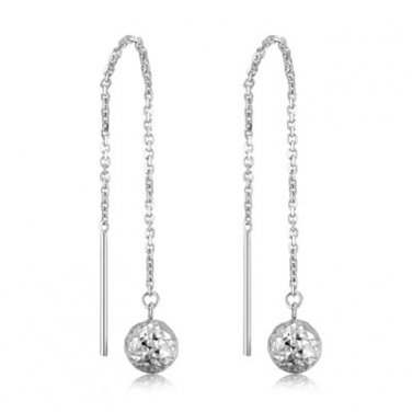 14K White Gold Hammered Drop Style Ball Threader Link Chain Earrings Jewelry Gift C04742E