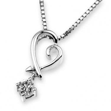 """0.13ct Diamond Solitaire 18K White Gold Heart Dangle Pendant W/925 Silver Chain 16"""" Bridal F03641P"""