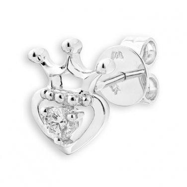 0.07ct Diamond Solitaire 18K White Gold Crown Princess Heart SINGLE Earring Girl Gift S07425L