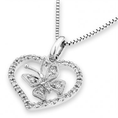 """0.15cttw Diamond Accent 18K White Gold Butterfly In Heart Pendant W/925 Silver Chain 16"""" S05957P"""