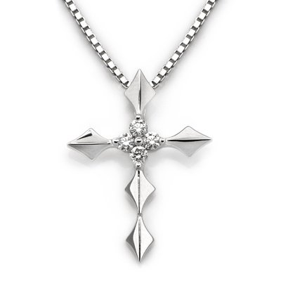 18K White Gold Four Stone 0.08cttw Diamond Cross FREE 925 Silver Chain Christening Gift S07091P