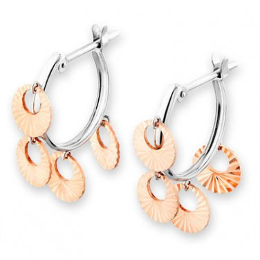 14K Rose And White Gold Two Tones Round Disc Drop Hoop Earrings Fashion Gift  B05059E