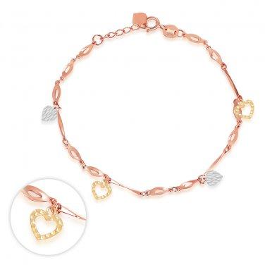 14K Tri Color Yellow Rose White Gold Heart Charm Bracelet Bridesmaid Jewelry Gift Women Girl C06197B