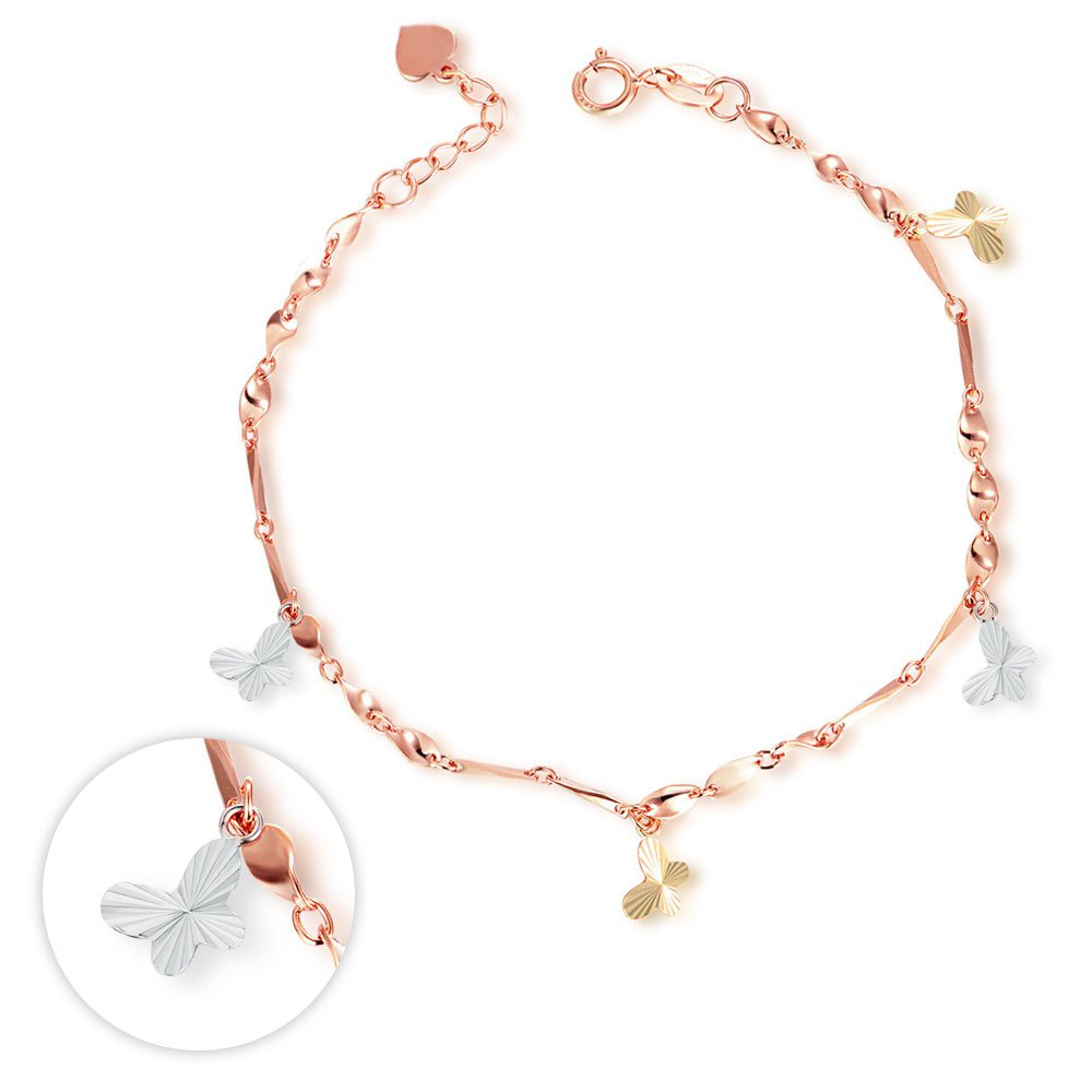 14K Tri Color Yellow Rose White Gold Butterfly Charm Bracelet Bridesmaid Jewelry Women Girl C06195B