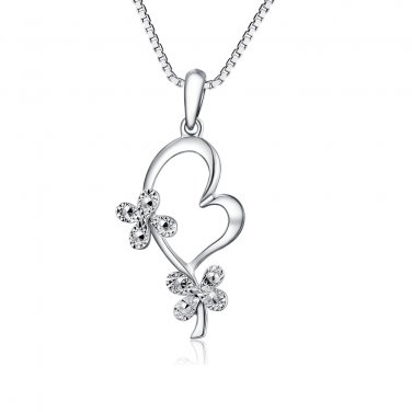 """14K White Gold D-Cut Butterfly Clover Heart Necklace 16"""", St Patrick's Day Gift C04834P"""