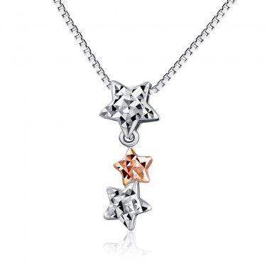 "14K Rose & White Gold Diamond-Cut Triple Stars Necklace 16"" Gift Fashion Jewelry C04174P"