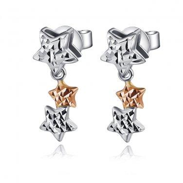 14k Rose And White Gold Diamond-Cut Triple Stars Dangle Stud Earrings Gift C04698E