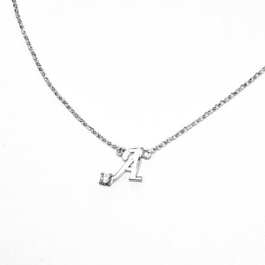 0.05ct Diamond 18K White Gold Initial Letter Necklace Bridesmaid Christmas Gift S05667N-A