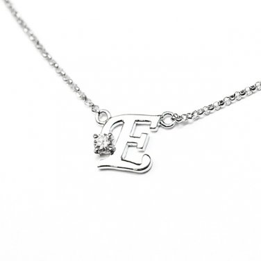 0.05ct Diamond 18K White Gold Initial Letter Necklace Bridesmaid Christmas Gift S05667N-E