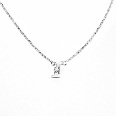 0.05ct Diamond 18K White Gold Initial Letter Necklace Bridesmaid Christmas Gift S05667N-I