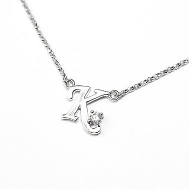 0.05ct Diamond 18K White Gold Initial Letter Necklace Bridesmaid Christmas Gift S05667N-K