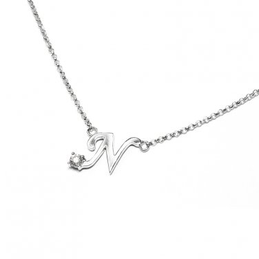 0.05ct Diamond 18K White Gold Initial Letter Necklace Bridesmaid Christmas Gift S05667N-N