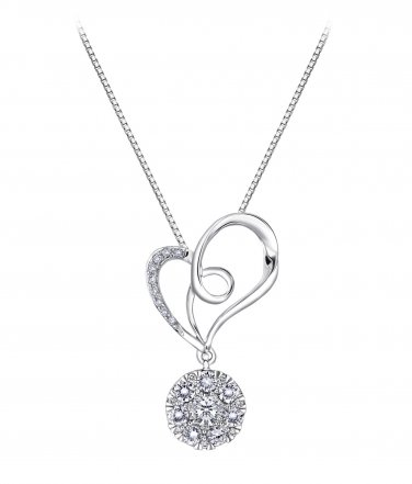 18K White Gold Ribbon Heart 0.4cttw Diamond 925 Silver Necklace, Valentines Jewelry Gift S07947P