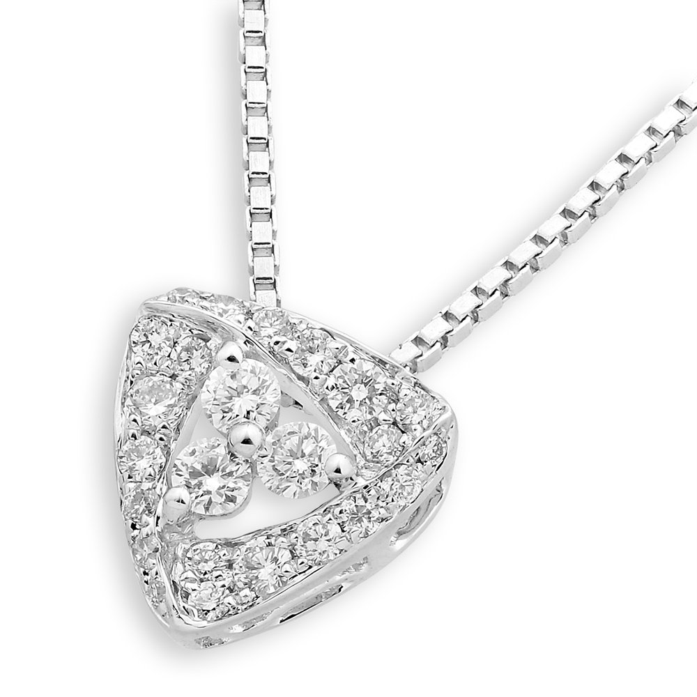 0.22cttw Diamond 18K White Gold Filigree Trillion Triangle 925 Silver Necklace Jewelry Gift J12775P