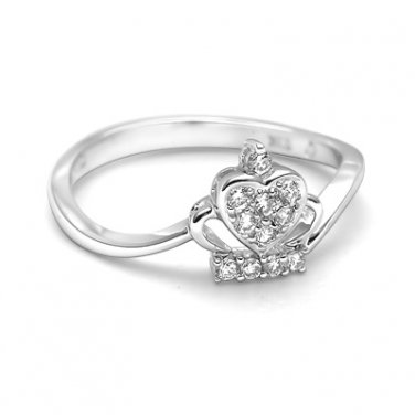 0.12cttw Diamond 18K White Gold Queen Crown Heart Engagement Wedding Ring S04638R