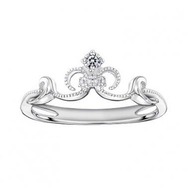 18K White Gold 0.05cttw Diamond Mermaid Milgrain Crown Princess Bridal Wedding Ring S07371R