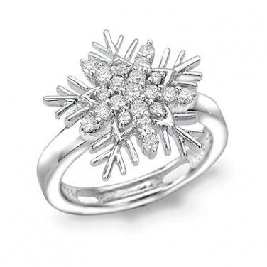 0.22cttw Diamond Frozen Winter Snowflake Pinky Ring Band Fashion Women Jewelry S03798X