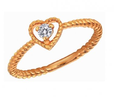 0.07ct Diamond 18K Rose Gold Heart Twisted Band Stackable Engagement Wedding Ring S07099R