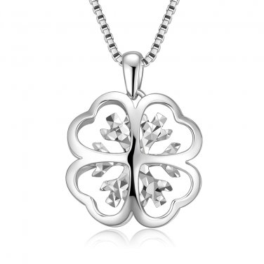 """14K White Gold D-Cut Clover Women Necklace 16"""", Fashion Jewelry Gift C04218P"""