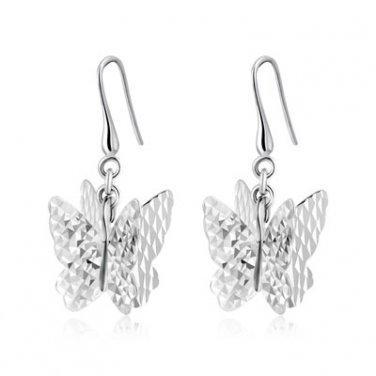 14K White Gold Diamond-Cut 3D Butterfly Hook Earrings Jewelry Birthday Gift C04802E