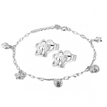 """14K White Gold Star Heart Ball Bracelet 6.5"""" & Star Earrings Jewelry Set Women Gift C05679B_B05765E"""
