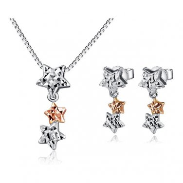 "14K Rose White Gold Triple Stars Necklace 16"" & Earrings Jewelry Gift Set C04174P_C04698E"