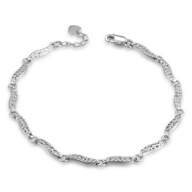 "14K Italian White Gold Wave Segments With Diamond-Cut Bracelet (6.5"") Jewelry in Gift Box B05022B"
