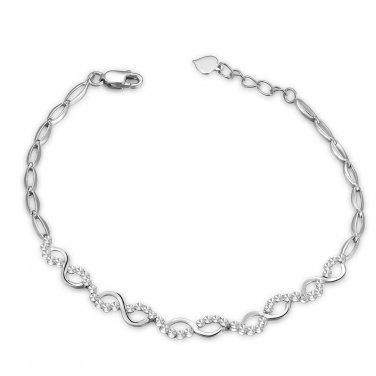 "14K White Gold Diamond Cut Polished Intercross Bracelet (6.5""), Women Jewelry in Gift Box B05081B"